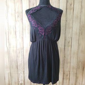 Cacique Plus Size Black & Purple Babydoll Chemise